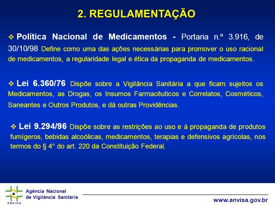 Agência Nacional de Vigilância Sanitária www.anvisa.gov.br Agência Nacional de Vigilância Sanitária www.anvisa.gov.br 2. REGULAMENTAÇÃO Política Nacio