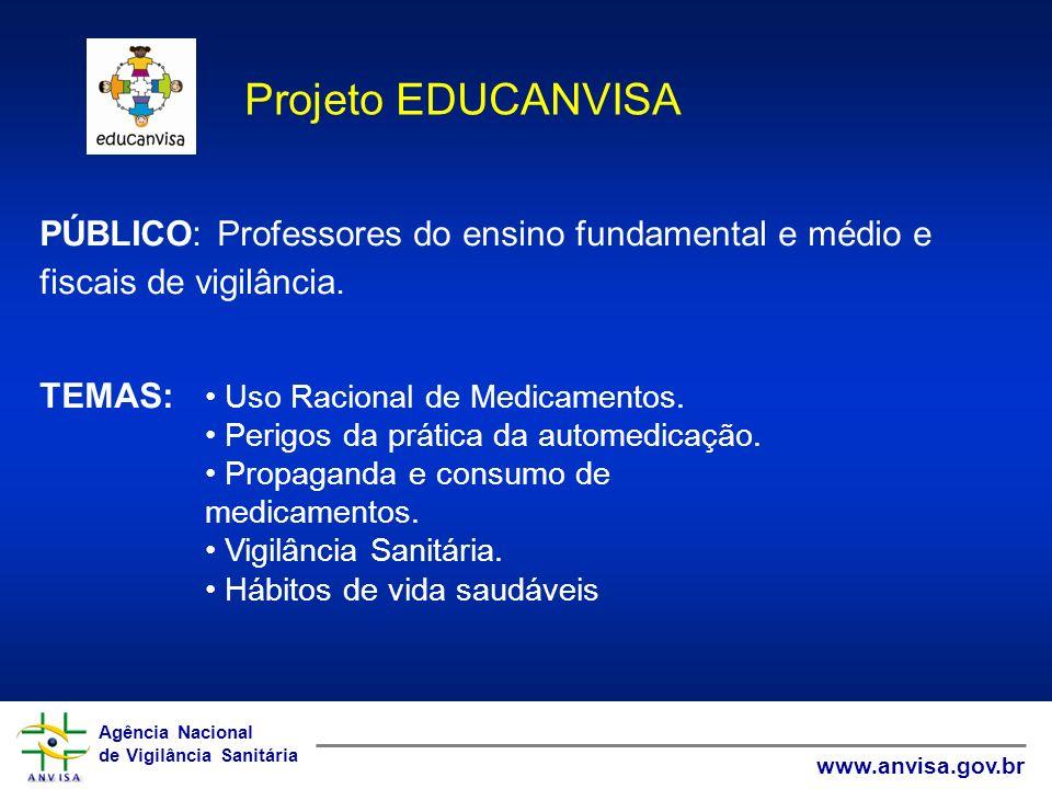Agência Nacional de Vigilância Sanitária www.anvisa.gov.br Agência Nacional de Vigilância Sanitária www.anvisa.gov.br PÚBLICO: Professores do ensino f