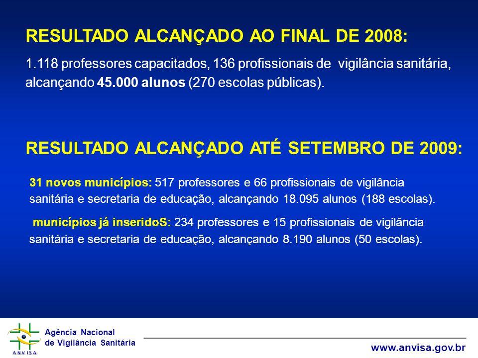 Agência Nacional de Vigilância Sanitária www.anvisa.gov.br Agência Nacional de Vigilância Sanitária www.anvisa.gov.br 1.118 professores capacitados, 1