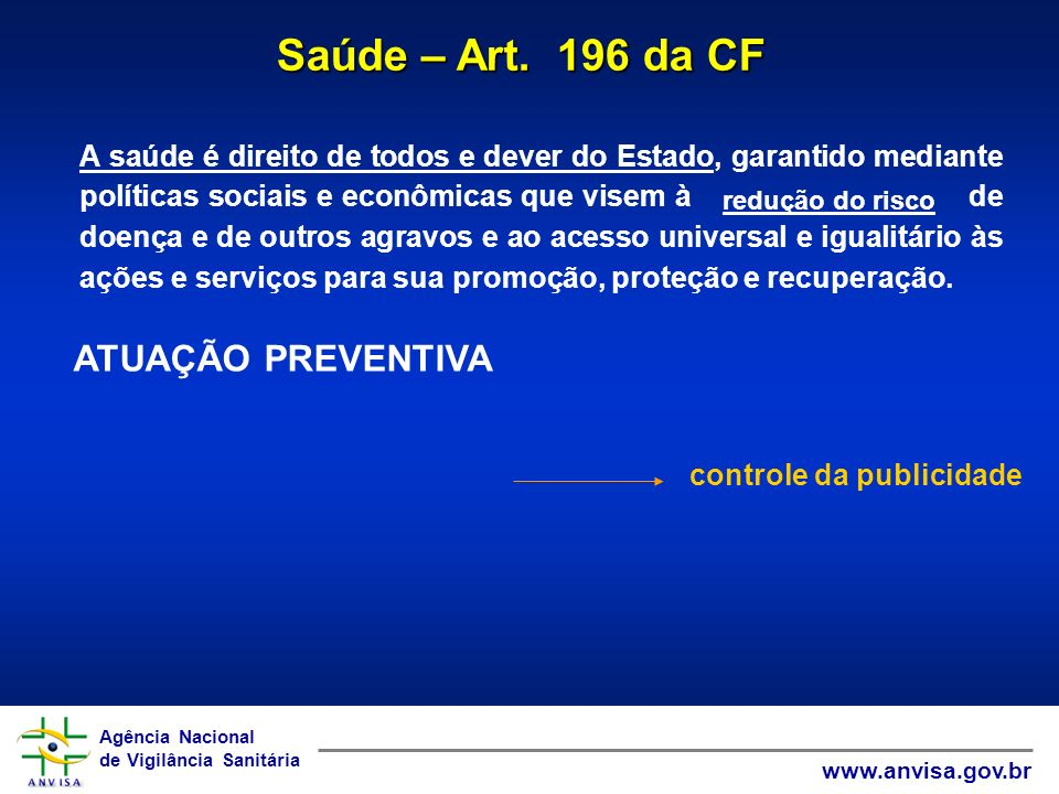 Agência Nacional de Vigilância Sanitária www.anvisa.gov.br Agência Nacional de Vigilância Sanitária www.anvisa.gov.br Saúde – Art.