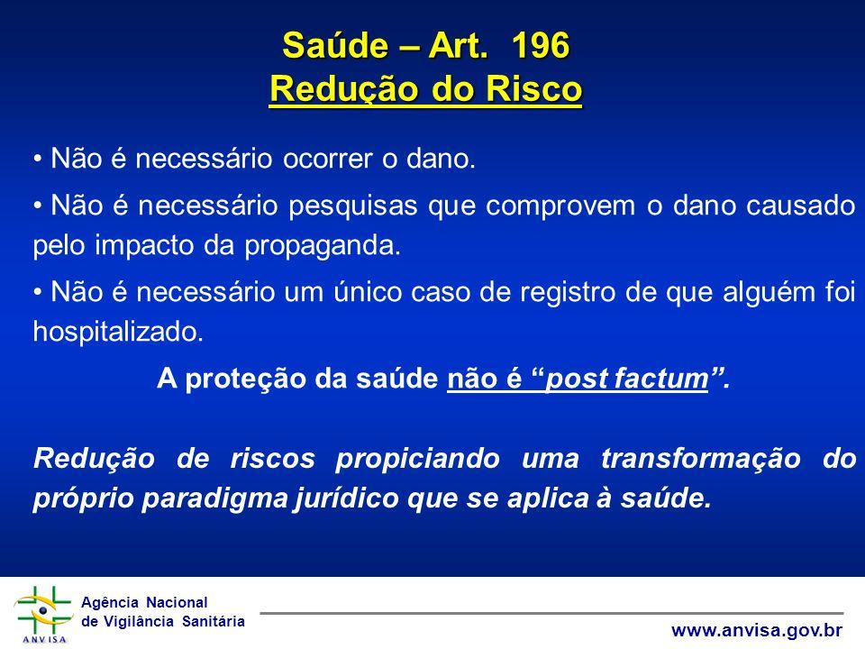 Agência Nacional de Vigilância Sanitária www.anvisa.gov.br Agência Nacional de Vigilância Sanitária www.anvisa.gov.br Saúde – Art. 196 Redução do Risc