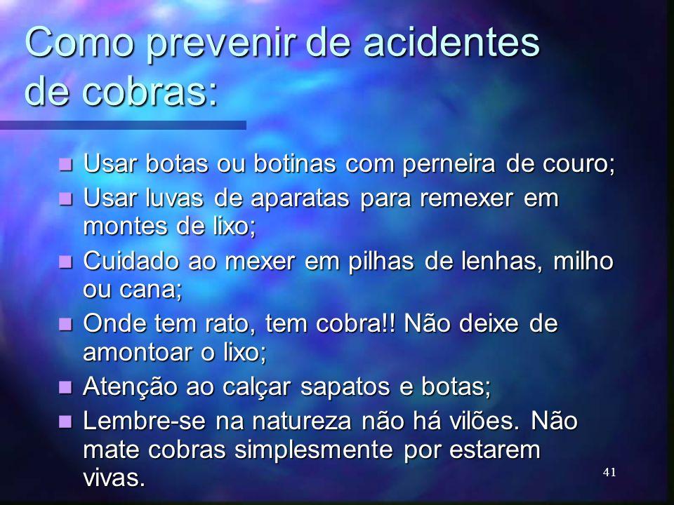 Como prevenir de acidentes de cobras: Usar botas ou botinas com perneira de couro; Usar botas ou botinas com perneira de couro; Usar luvas de aparatas