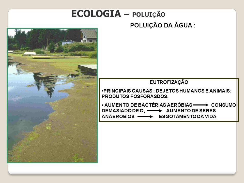ECOLOGIA – POLUI Ç ÃO POLUIÇÃO DA ÁGUA : EUTROFIZAÇÃO PRINCIPAIS CAUSAS : DEJETOS HUMANOS E ANIMAIS; PRODUTOS FOSFORASDOS. AUMENTO DE BACTÉRIAS AERÓBI