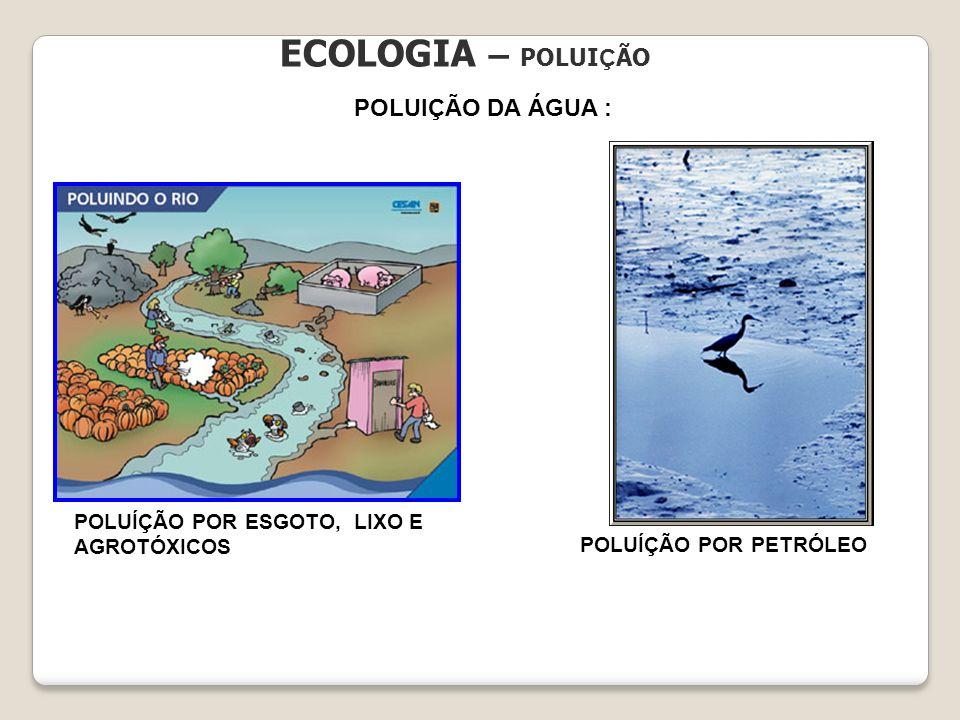ECOLOGIA – POLUI Ç ÃO POLUIÇÃO DA ÁGUA : POLUÍÇÃO POR ESGOTO, LIXO E AGROTÓXICOS POLUÍÇÃO POR PETRÓLEO