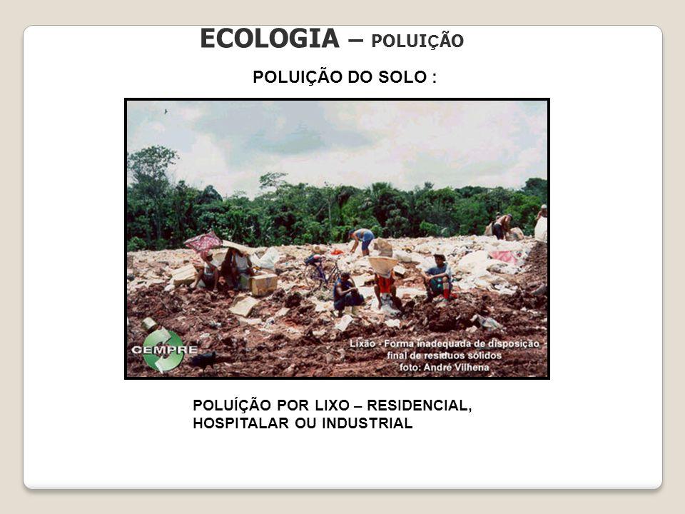 ECOLOGIA – POLUI Ç ÃO POLUIÇÃO DO SOLO : POLUÍÇÃO POR LIXO – RESIDENCIAL, HOSPITALAR OU INDUSTRIAL