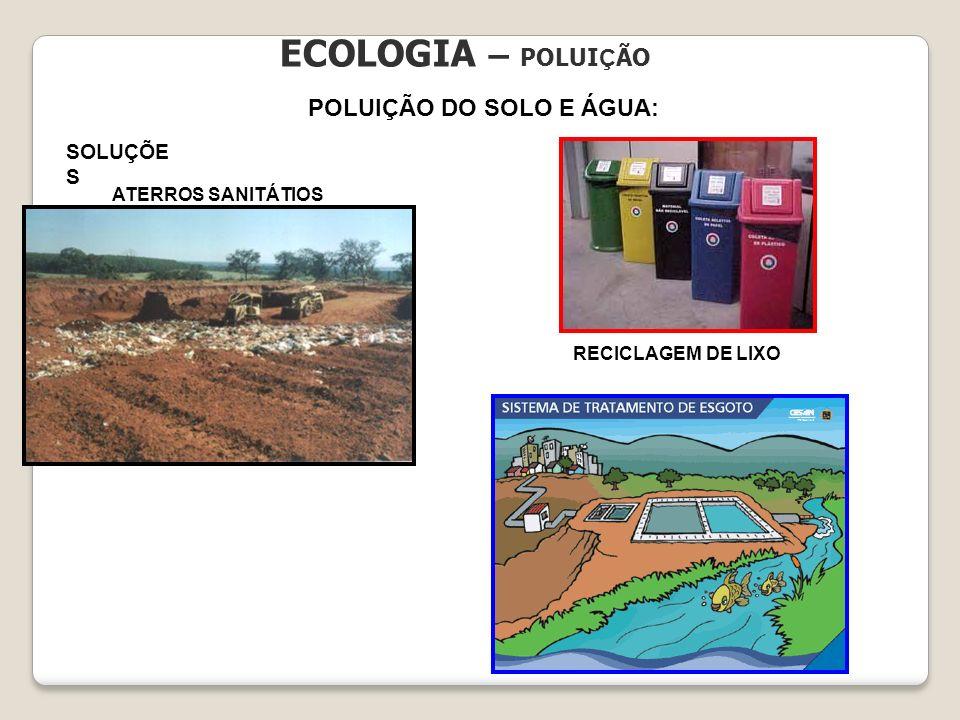 ECOLOGIA – POLUI Ç ÃO POLUIÇÃO DO SOLO E ÁGUA: SOLUÇÕE S ATERROS SANITÁTIOS RECICLAGEM DE LIXO