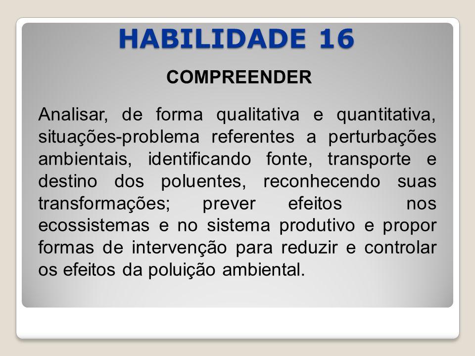 HABILIDADE 16 COMPREENDER Analisar, de forma qualitativa e quantitativa, situações-problema referentes a perturbações ambientais, identificando fonte,