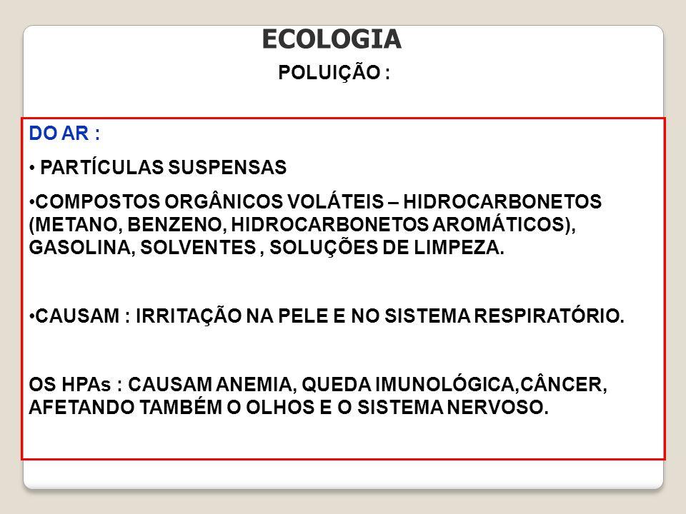 ECOLOGIA POLUIÇÃO : DO AR : PARTÍCULAS SUSPENSAS COMPOSTOS ORGÂNICOS VOLÁTEIS – HIDROCARBONETOS (METANO, BENZENO, HIDROCARBONETOS AROMÁTICOS), GASOLIN