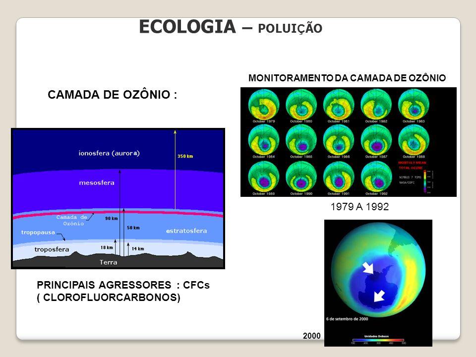 ECOLOGIA – POLUI Ç ÃO CAMADA DE OZÔNIO : MONITORAMENTO DA CAMADA DE OZÔNIO 1979 A 1992 2000 PRINCIPAIS AGRESSORES : CFCs ( CLOROFLUORCARBONOS)