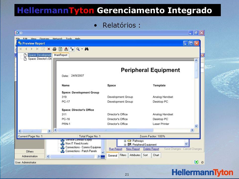 21 Relatórios : HellermannTyton Gerenciamento Integrado