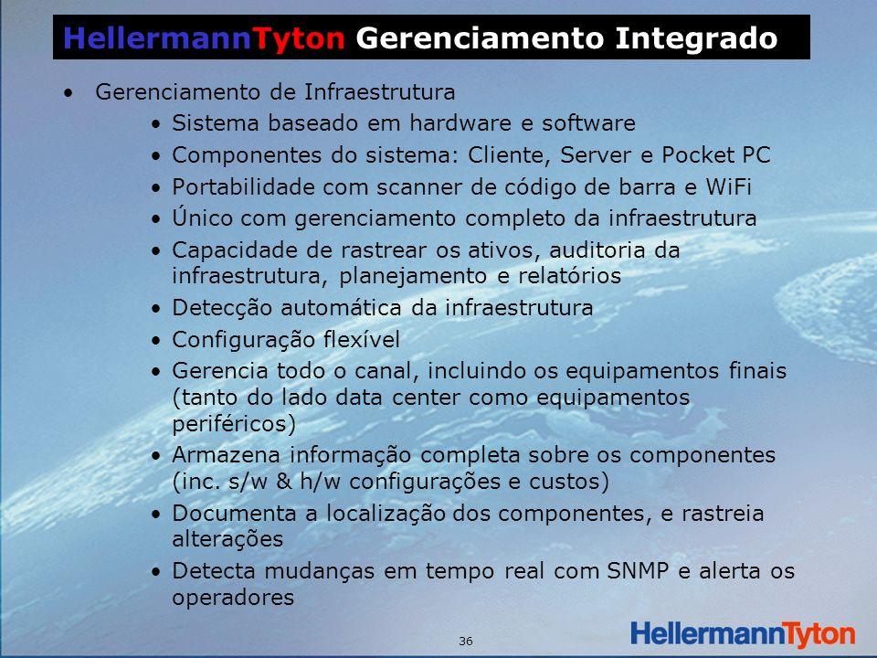 36 Gerenciamento de Infraestrutura Sistema baseado em hardware e software Componentes do sistema: Cliente, Server e Pocket PC Portabilidade com scanner de código de barra e WiFi Único com gerenciamento completo da infraestrutura Capacidade de rastrear os ativos, auditoria da infraestrutura, planejamento e relatórios Detecção automática da infraestrutura Configuração flexível Gerencia todo o canal, incluindo os equipamentos finais (tanto do lado data center como equipamentos periféricos) Armazena informação completa sobre os componentes (inc.