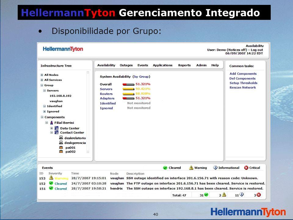 40 Disponibilidade por Grupo: HellermannTyton Gerenciamento Integrado