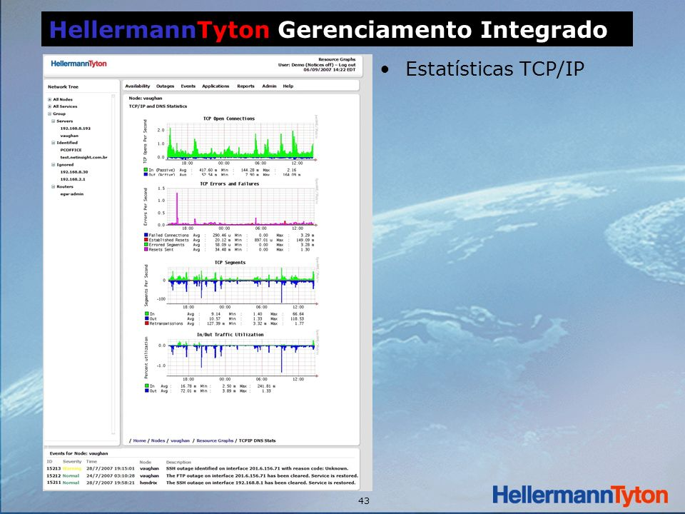 43 Estatísticas TCP/IP HellermannTyton Gerenciamento Integrado