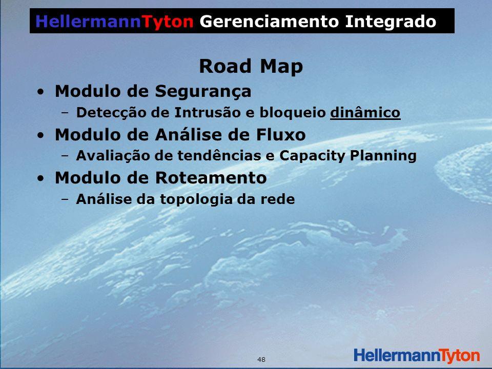 48 Road Map Modulo de Segurança –Detecção de Intrusão e bloqueio dinâmico Modulo de Análise de Fluxo –Avaliação de tendências e Capacity Planning Modulo de Roteamento –Análise da topologia da rede HellermannTyton Gerenciamento Integrado