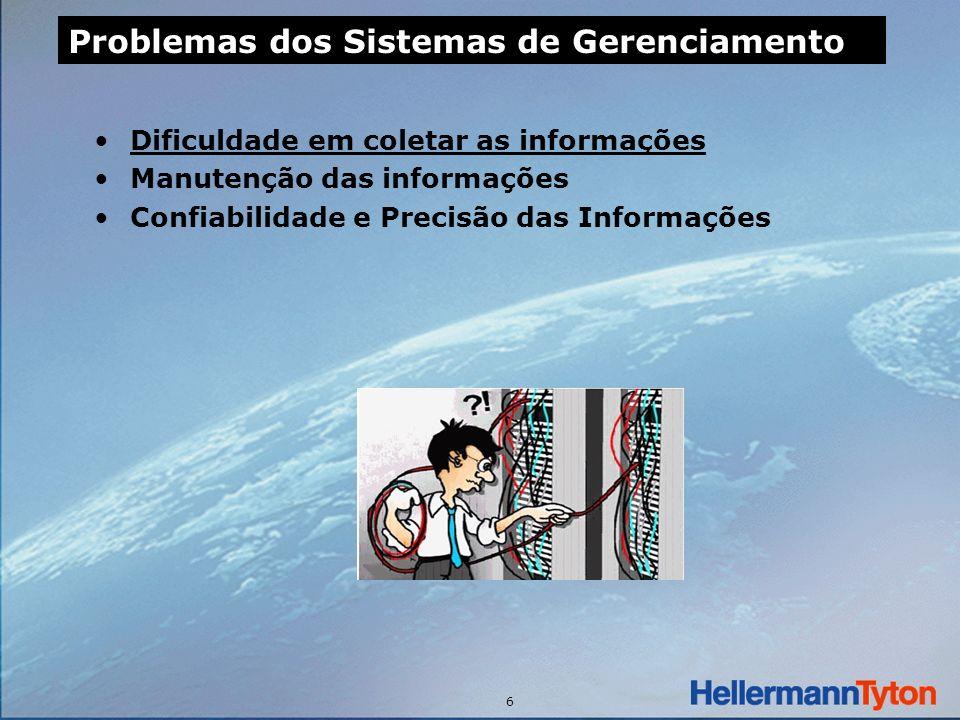 6 Dificuldade em coletar as informações Manutenção das informações Confiabilidade e Precisão das Informações Problemas dos Sistemas de Gerenciamento