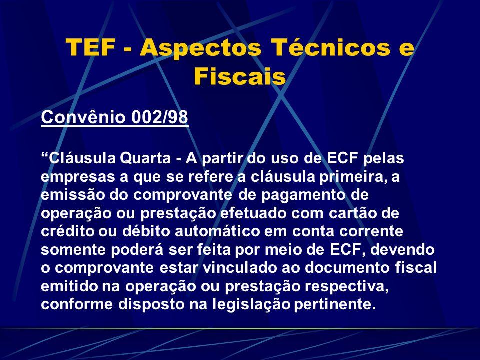 Convênio 002/98 Cláusula Quarta - A partir do uso de ECF pelas empresas a que se refere a cláusula primeira, a emissão do comprovante de pagamento de