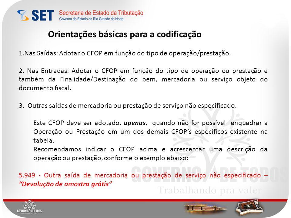 Orientações básicas para a codificação 1.Nas Saídas: Adotar o CFOP em função do tipo de operação/prestação. 2. Nas Entradas: Adotar o CFOP em função d