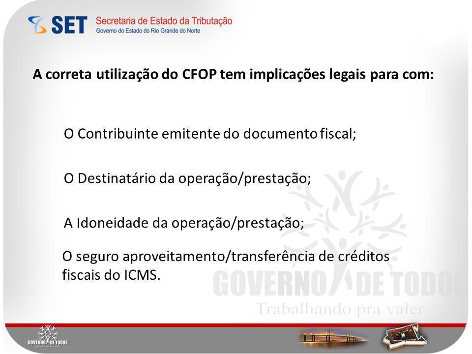 A correta utilização do CFOP tem implicações legais para com: O Contribuinte emitente do documento fiscal; O Destinatário da operação/prestação; O seguro aproveitamento/transferência de créditos fiscais do ICMS.