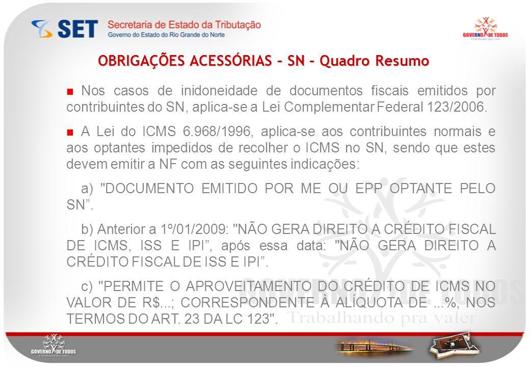 Nos casos de inidoneidade de documentos fiscais emitidos por contribuintes do SN, aplica-se a Lei Complementar Federal 123/2006.