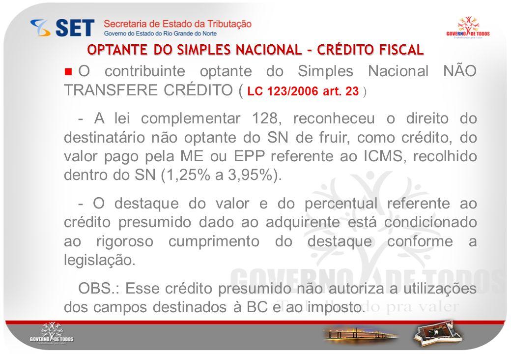 O contribuinte optante do Simples Nacional NÃO TRANSFERE CRÉDITO ( LC 123/2006 art.