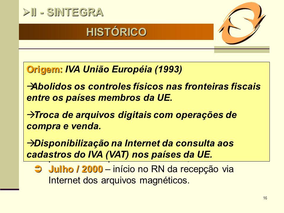 16 HISTÓRICO II - SINTEGRA II - SINTEGRA Marco InicialMaio/1997 Marco Inicial – Maio/1997,86ª reunião do CONFAZ: Celebrado Convênio ICMS 78/97, criand