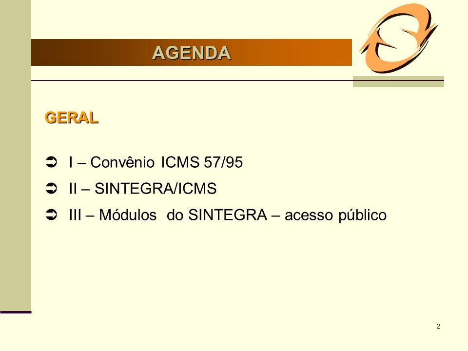 2 AGENDA GERAL I – Convênio ICMS 57/95 II – SINTEGRA/ICMS III – Módulos do SINTEGRA – acesso público