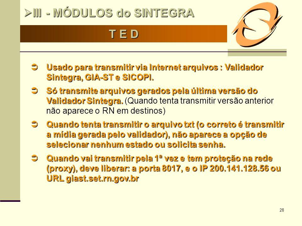 28 T E D III - MÓDULOS do SINTEGRA III - MÓDULOS do SINTEGRA Usado para transmitir via Internet arquivos : Validador Sintegra, GIA-ST e SICOPI. Usado
