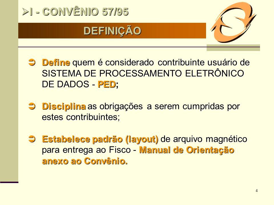 4 DEFINIÇÃO I - CONVÊNIO 57/95 I - CONVÊNIO 57/95 Define quem é considerado contribuinte usuário de SISTEMA DE PROCESSAMENTO ELETRÔNICO DE DADOS - PED