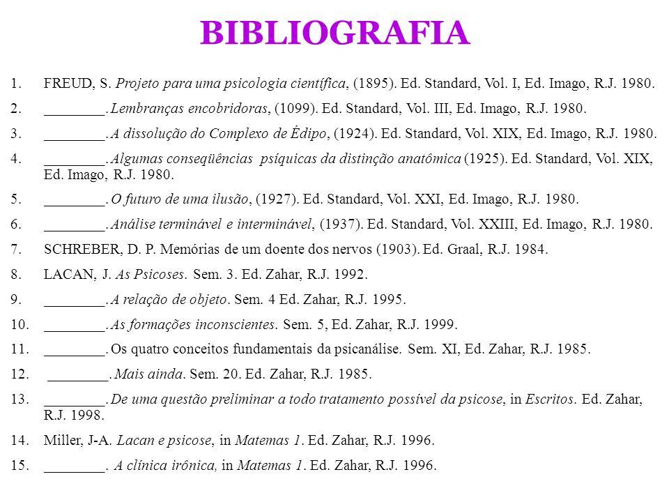BIBLIOGRAFIA 1.FREUD, S. Projeto para uma psicologia científica, (1895). Ed. Standard, Vol. I, Ed. Imago, R.J. 1980. 2.________. Lembranças encobridor