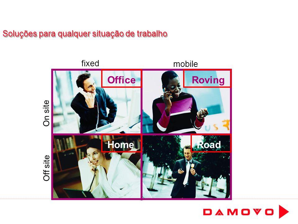 Soluções para qualquer situação de trabalho Home OfficeRoving Road fixed mobile Off site On site