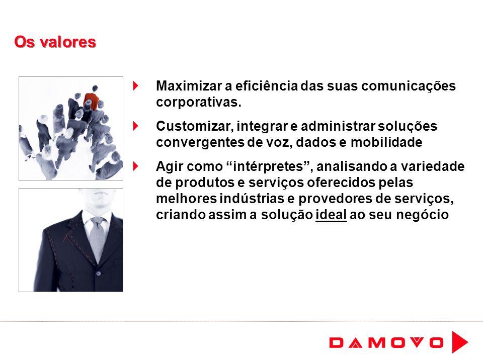 Os valores Maximizar a eficiência das suas comunicações corporativas. Customizar, integrar e administrar soluções convergentes de voz, dados e mobilid
