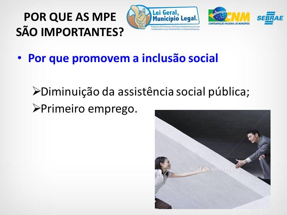 Por que promovem a inclusão social Diminuição da assistência social pública; Primeiro emprego.
