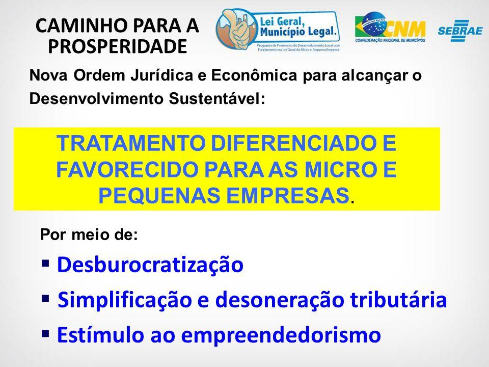 CAMINHO PARA A PROSPERIDADE Nova Ordem Jurídica e Econômica para alcançar o Desenvolvimento Sustentável: TRATAMENTO DIFERENCIADO E FAVORECIDO PARA AS MICRO E PEQUENAS EMPRESAS.