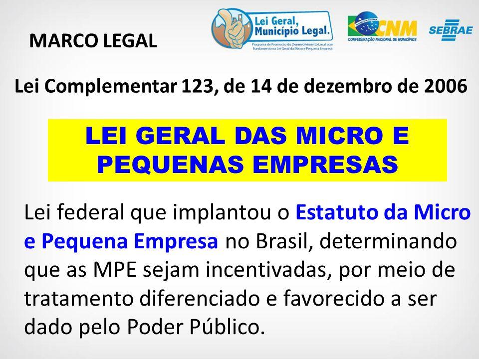 LEI GERAL DAS MICRO E PEQUENAS EMPRESAS MARCO LEGAL Lei federal que implantou o Estatuto da Micro e Pequena Empresa no Brasil, determinando que as MPE sejam incentivadas, por meio de tratamento diferenciado e favorecido a ser dado pelo Poder Público.