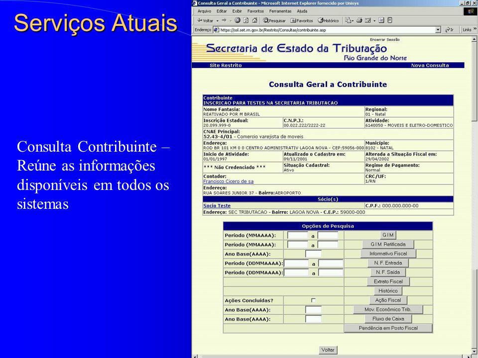 Serviços Atuais Consulta Contribuinte – Reúne as informações disponíveis em todos os sistemas