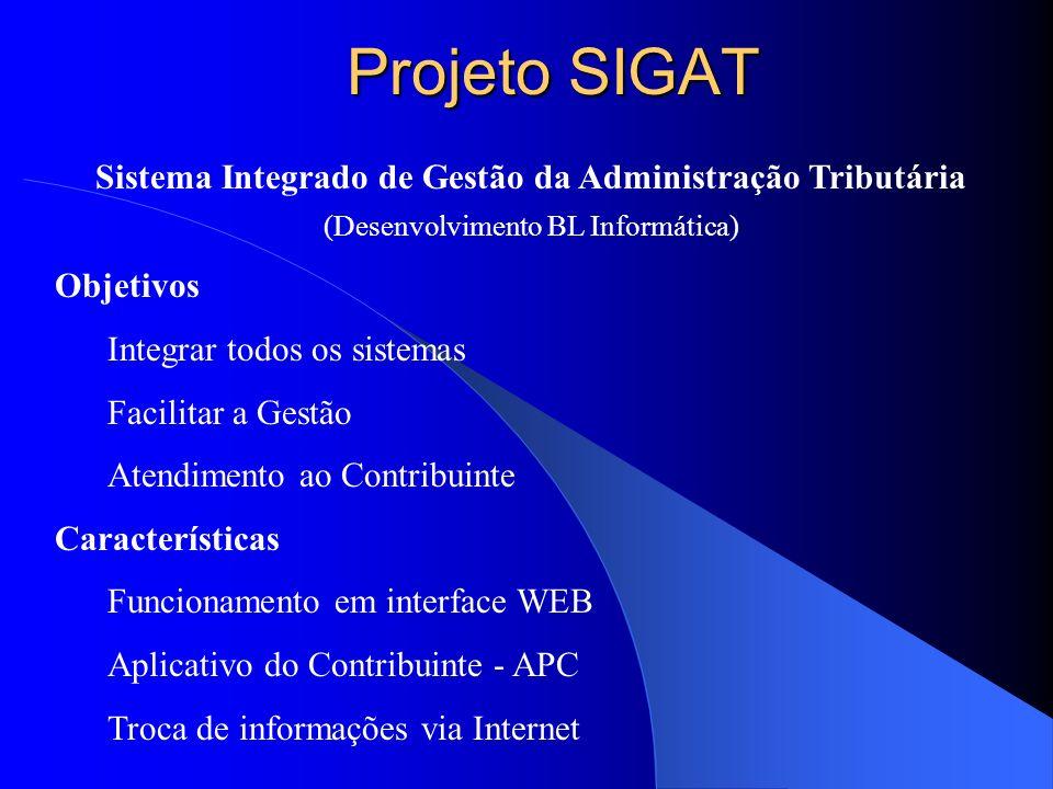 Projeto SIGAT Sistema Integrado de Gestão da Administração Tributária (Desenvolvimento BL Informática) Objetivos Integrar todos os sistemas Facilitar