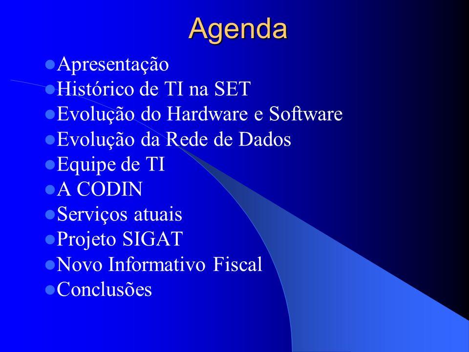 Agenda Apresentação Histórico de TI na SET Evolução do Hardware e Software Evolução da Rede de Dados Equipe de TI A CODIN Serviços atuais Projeto SIGA