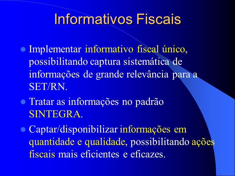 Informativos Fiscais Implementar informativo fiscal único, possibilitando captura sistemática de informações de grande relevância para a SET/RN. Trata