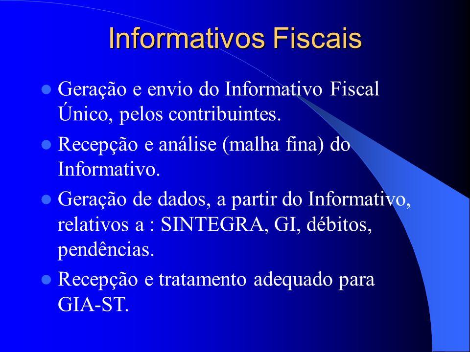 Informativos Fiscais Geração e envio do Informativo Fiscal Único, pelos contribuintes. Recepção e análise (malha fina) do Informativo. Geração de dado