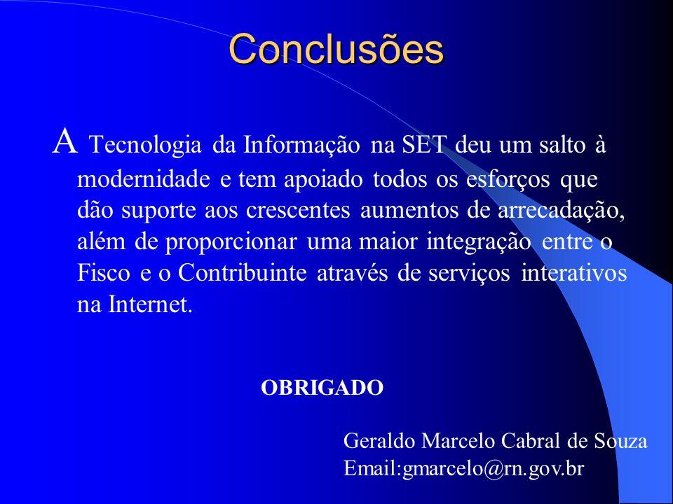 Conclusões A Tecnologia da Informação na SET deu um salto à modernidade e tem apoiado todos os esforços que dão suporte aos crescentes aumentos de arr