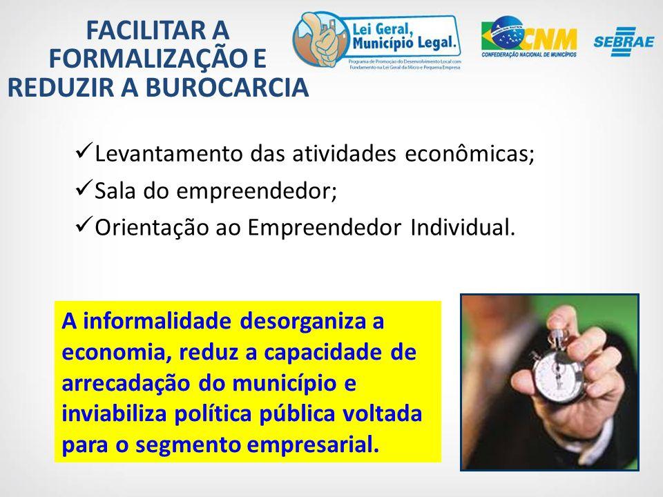 FACILITAR A FORMALIZAÇÃO E REDUZIR A BUROCARCIA Levantamento das atividades econômicas; Sala do empreendedor; Orientação ao Empreendedor Individual.