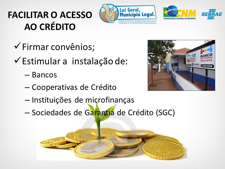 Firmar convênios; Estimular a instalação de: – Bancos – Cooperativas de Crédito – Instituições de microfinanças – Sociedades de Garantia de Crédito (SGC) FACILITAR O ACESSO AO CRÉDITO