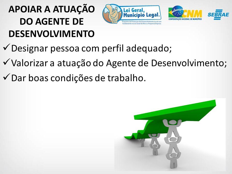 Designar pessoa com perfil adequado; Valorizar a atuação do Agente de Desenvolvimento; Dar boas condições de trabalho.