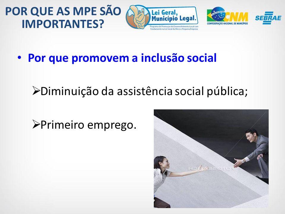 Outros benefícios gerados pelas MPE: Redução da necessidade de atração de médias e grandes empresas; Menor êxodo de empreendedores; Permanência de recursos financeiros girando na economia local.