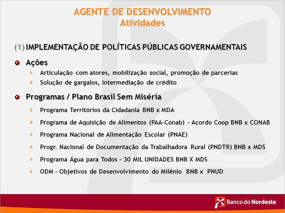 AGENTE DE DESENVOLVIMENTO Atividades (1)IMPLEMENTAÇÃO DE POLÍTICAS PÚBLICAS GOVERNAMENTAIS Ações Articulação com atores, mobilização social, promoção