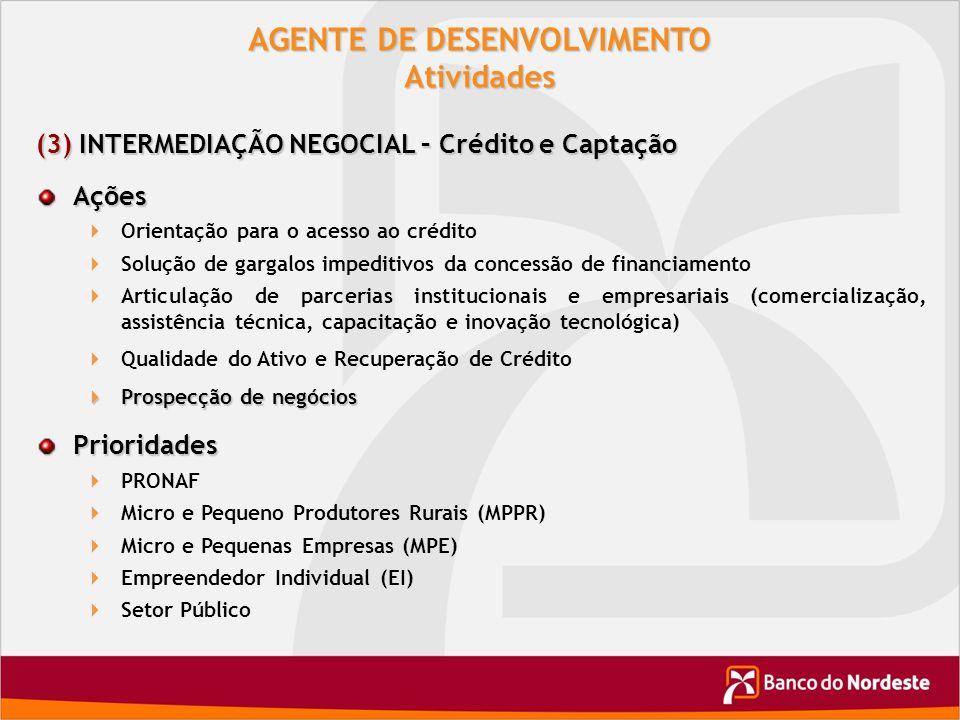 AGENTE DE DESENVOLVIMENTO Atividades (3) INTERMEDIAÇÃO NEGOCIAL – Crédito e Captação Ações Orientação para o acesso ao crédito Solução de gargalos imp