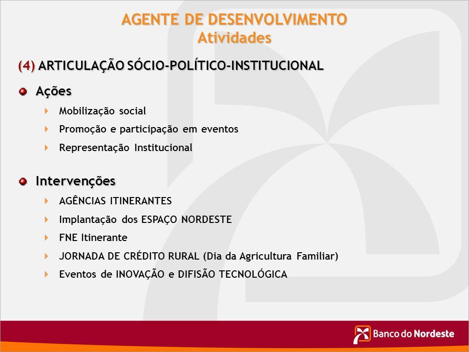 AGENTE DE DESENVOLVIMENTO Atividades (4) ARTICULAÇÃO SÓCIO-POLÍTICO-INSTITUCIONAL Ações Mobilização social Promoção e participação em eventos Represen