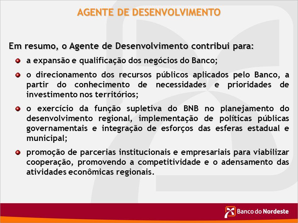 AGENTE DE DESENVOLVIMENTO Em resumo, o Agente de Desenvolvimento contribui para: a expansão e qualificação dos negócios do Banco; o direcionamento dos