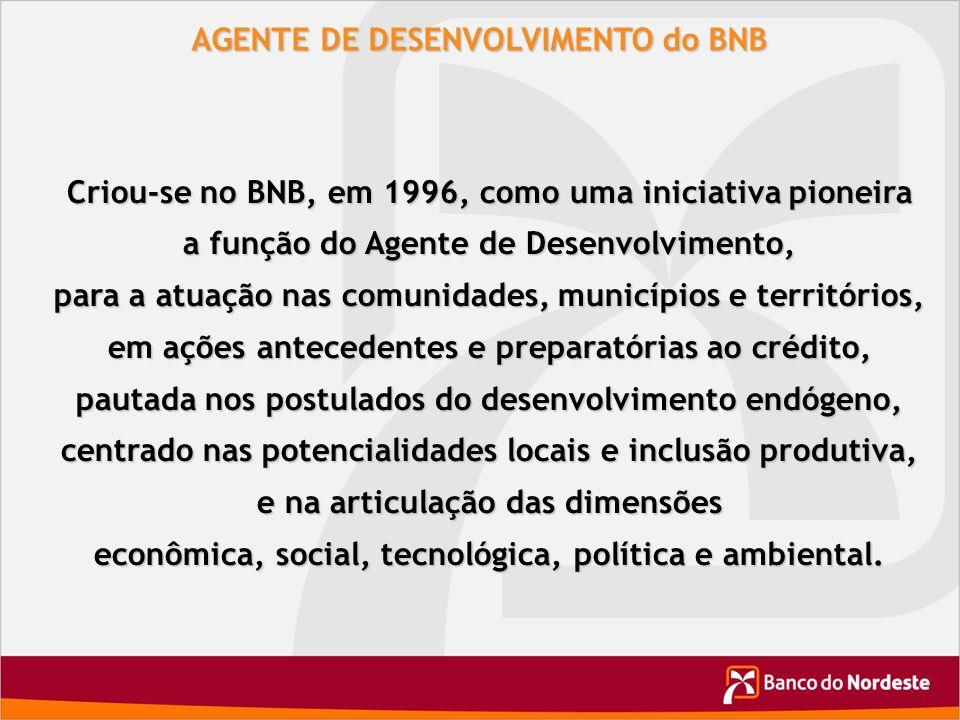 AGENTE DE DESENVOLVIMENTO do BNB Criou-se no BNB, em 1996, como uma iniciativa pioneira a função do Agente de Desenvolvimento, para a atuação nas comu