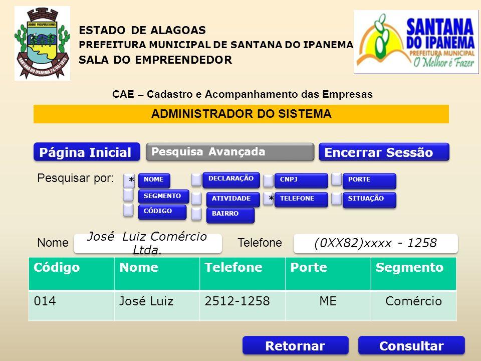 ADMINISTRADOR DO SISTEMA Página Inicial Encerrar Sessão Pesquisa Avançada CódigoNomeTelefonePorteSegmento 014José Luiz2512-1258MEComércio NomeTelefone